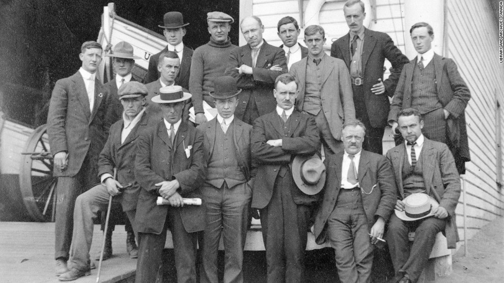 In this expedition photo which was taken before shipping out, Vilhjalmur Stefansson (front row, third from the left) was joined by his secretary Burt McConnell, (middle row, second from left) and the ship's captain, Robert Bartlett (front row, second from left).