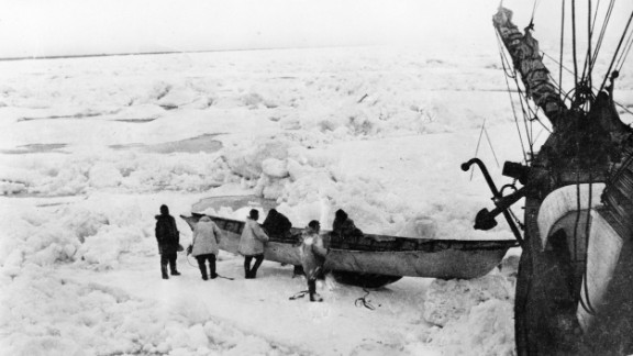 While stuck on the ship, the men built sleds and boats like this Eskimo-style umiak, to use in case they lost their ship and then had to cross the ice or water. Stefansson took some of the expedition