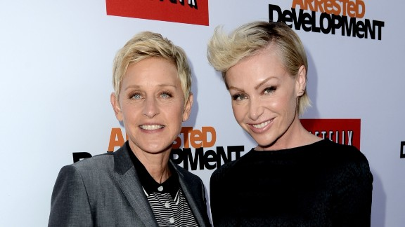 """Talk show host Ellen DeGeneres, left, and actress Portia de Rossi married in 2008. De Rossi was granted the right to change her last name to """"DeGeneres"""" by a Los Angeles court in 2010."""