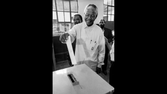 Mandela votes for the first time in his life on March 26, 1994.