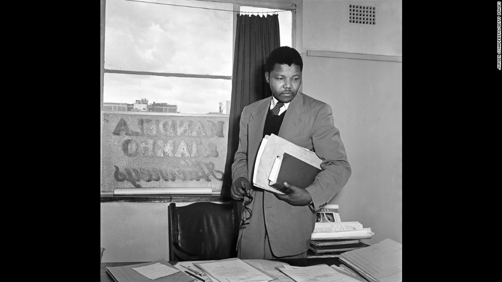 Mandela in the office of Mandela & Tambo, a law practice set up in Johannesburg by Mandela and Oliver Tambo to provide free or affordable legal representation to black South Africans.