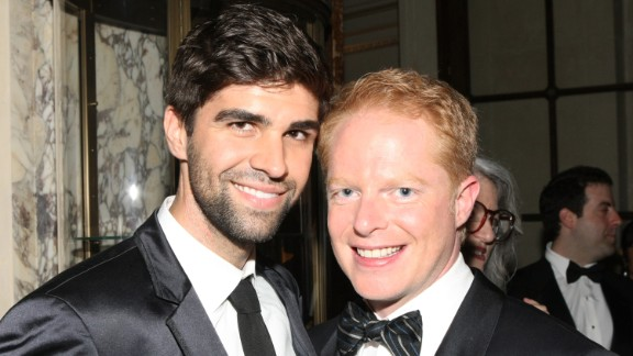 """Attorney Justin Mikita, left, and """"Modern Family"""" star Jesse Tyler Ferguson announced their engagement in 2012 via their website tietheknot.org and then married in July 2013. Their foundation sells ties with the proceeds going to organizations that support same-sex marriage. The pair have been outspoken about their advocacy."""