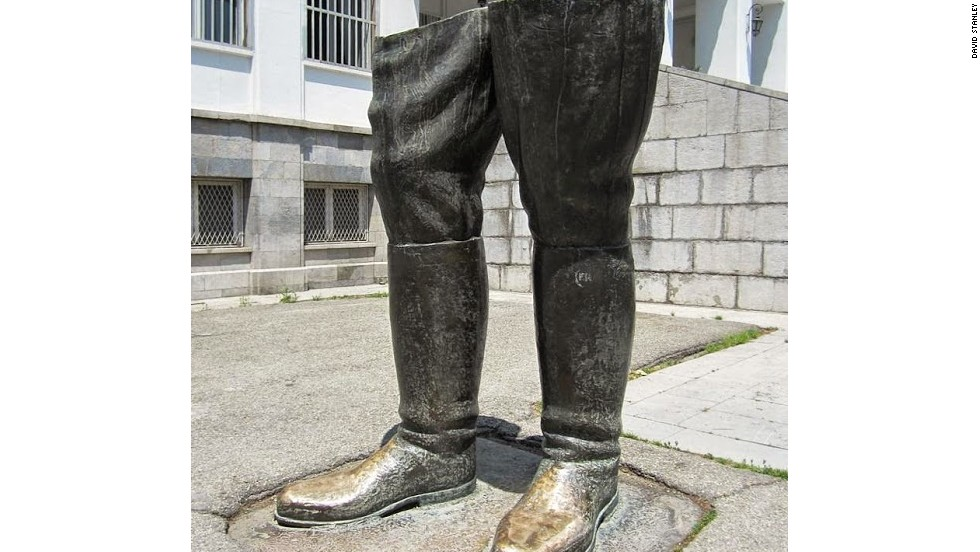 Only two bronze boots remain from a statue of Reza Shah, father of the last shah, outside the White Palace in the Saadabad Palace complex in Tehran.