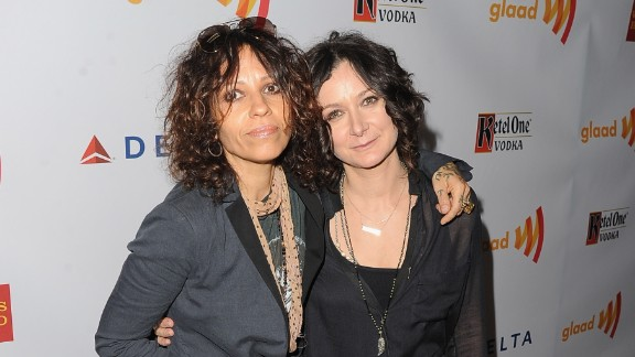 """Musician Linda Perry, left, and actress Sara Gilbert married in March 2014, Gilbert announced on her TV show """"The Talk."""""""