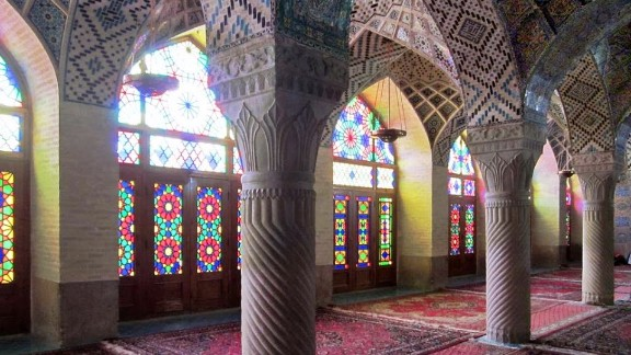 The columns, vaults, rugs and stained glass in this winter prayer hall at the Masjed-e Nasir-al-Molk Mosque in Shiraz create a serene atmosphere.