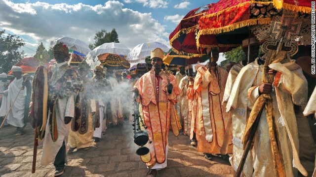 Ethiopian priests and monks walk during the annual festival of Timkat in Lalibela, which celebrates the Baptism of Jesus in the Jordan River.