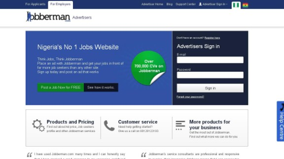 """""""The Jobberman recruitment site is one of the most popular job sites in Nigeria. According to the company, it bridges the gap between opportunity and talent by creating an 'efficient marketplace where job seekers and employers can interact quickly and easily.' Listings are taken from companies directly, and users can apply straight from the site."""""""