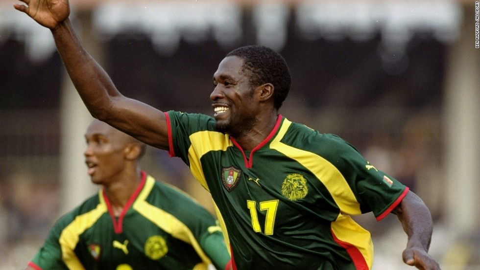 Foe celebrates his match winner in the quarterfinals of the 2000 Africa Cup of Nations, a tournament Cameroon won. Following Foe's death, Cameroon have failed to win another Nations Cup title.