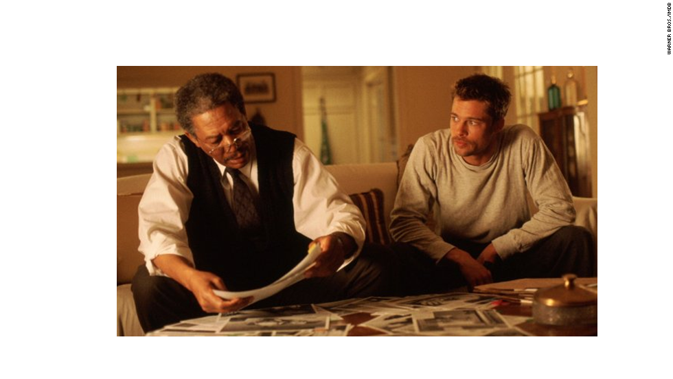 Unlike many other buddy cop movies, Brad Pitt, right, and Morgan Freeman were involved in a case that was no laughing matter. This 1995 smash with a creepy turn by Kevin Spacey, stays with you if you see it. (What was in that box?)