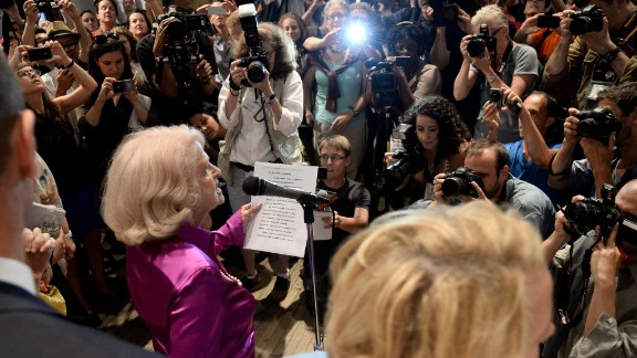 Defense of Marriage Act plaintiff Edith Windsor speaks at a press conference at the LGBT Center in New York after hearing the Supreme Court rulings.