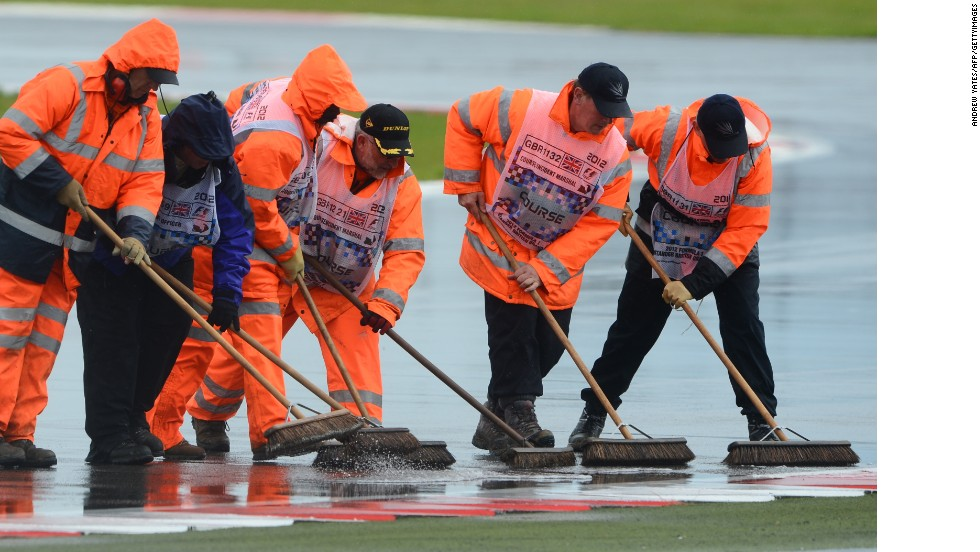 There will be close to 1200 volunteers on duty at the British Grand Prix. At the 2012 race they were on hand to help deal with the wet weather at Silverstone.