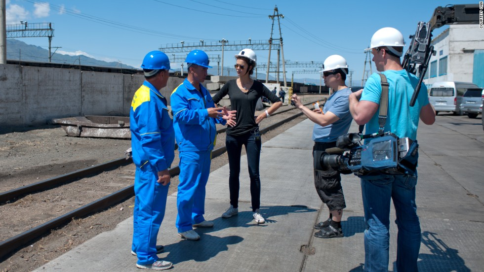 The railway is featured on CNN's The Gateway. Pictured, The Gateway team meets with inspectors in Dostyk, who will be examining the condition of the rolling stock through the station.