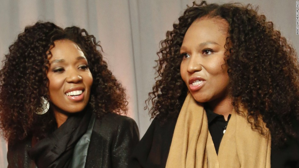 "Princess Zenani Dlamini's daughters Swati Dlamini, left, and Zaziwe Dlamini-Manaway talk about their reality show, ""Being Mandela,"" in New York in February."