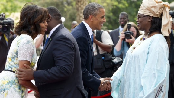 Senegal President Macky Sall and his wife Marieme Faye Sall welcome President Barack Obama and first lady Michelle Obama on Thursday, June 27, at the presidential palace before meetings in Dakar. Obama arrived in Dakar late on June 26 to start his tour of Africa.
