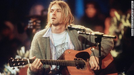 "Kurt Cobain during the taping of Nirvana's 1993 performance on ""MTV Unplugged."""