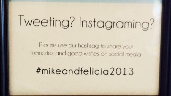 Some newlyweds ask guests to share photos on social media sites using a hashtag.
