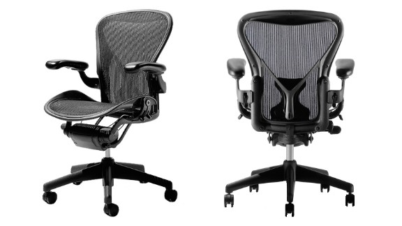"""George McCain, chairman of the Industrial Designers Society of America (IDSA) opted for the Aeron Chair. The design classic by Herman Miller """"has become ubiquitous in all 'hip' offices,"""" says McCain. """"It instigated a sea change in office seating away from heavy, uncomfortable, ergonomically challenged and environmentally unfriendly chairs."""""""