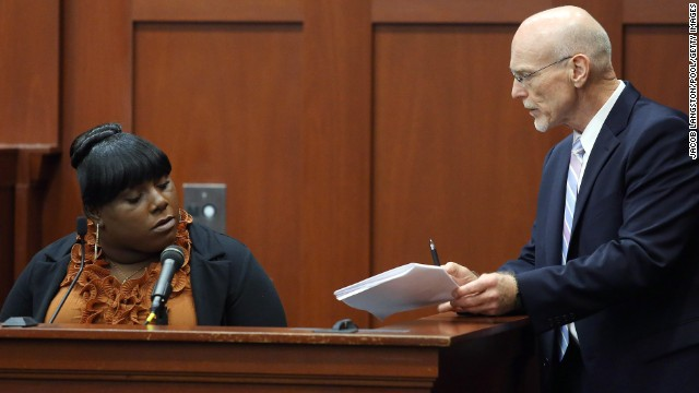 Rachel Jeantel, a friend of Trayvon Martin, is questioned by defense attorney Don West on June 27. She appeared to get frustrated several times during the cross-examination, including one time when West suggested they could break until the morning so she'd have more time to review the deposition transcript.