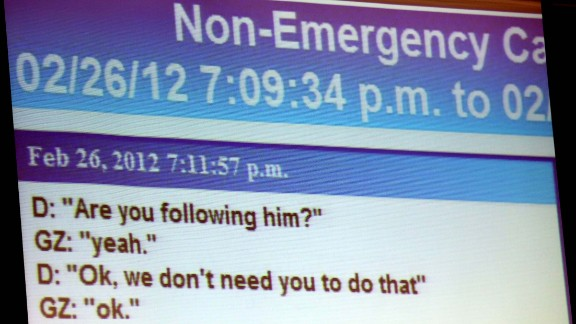 A transcript of Zimmerman's police call on the night of the shooting is projected during opening arguments on June 24.