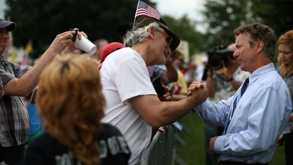 Sen. Rand Paul greets supporters at a tea party movement rally in Washington earlier this month.