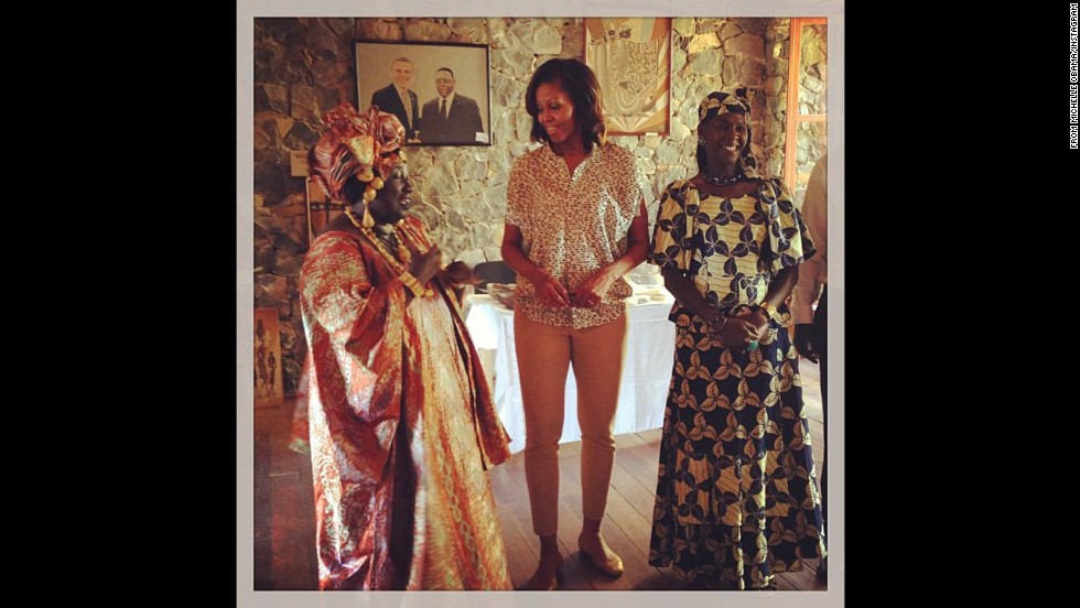 "Obama posted: ""Meeting local artists on Goree Island. #FLOTUSinAfrica"""