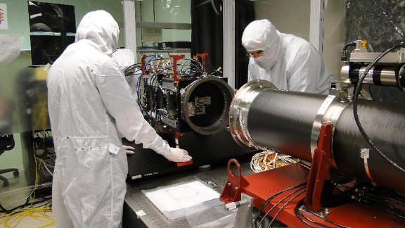 The main telescope is connected to the back-end electronics of IRIS.