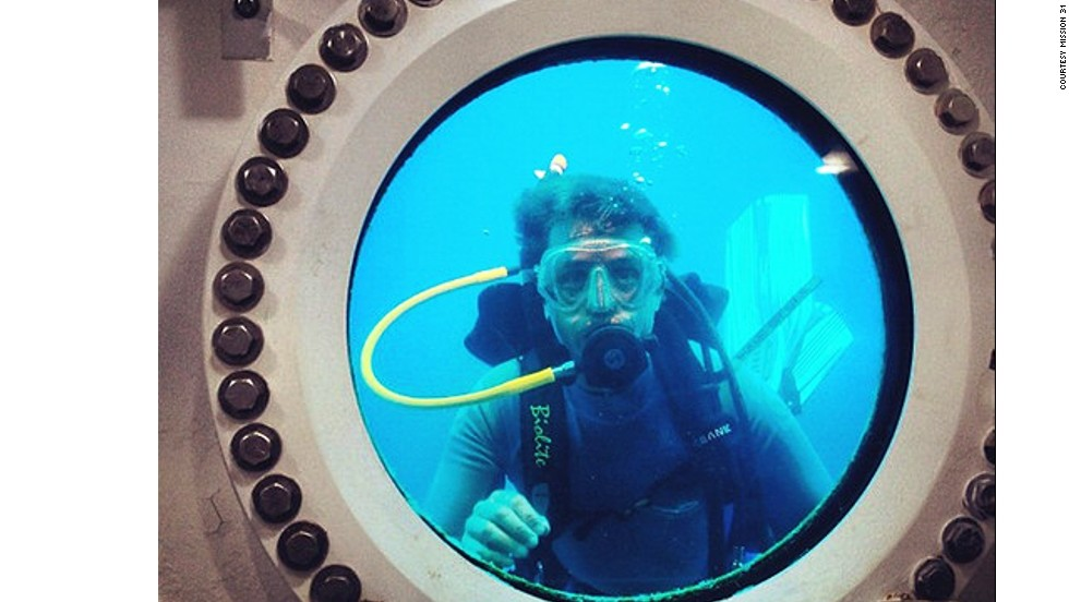 """It's almost as if we're in a fish bowl,"" said Cousteau. ""We'll be having dinner and outside the porthole will be a grouper fish looking in. It's pretty trippy."""