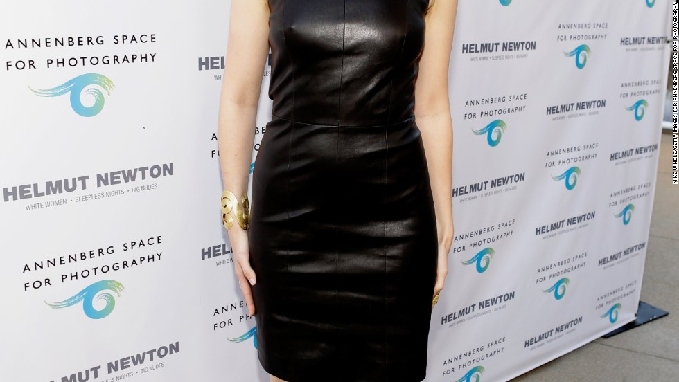 Mandy Moore shows off her leather dress at the opening night for the Annenberg Space for Photography's Helmut Newton exhibit on June 27 in Los Angeles.