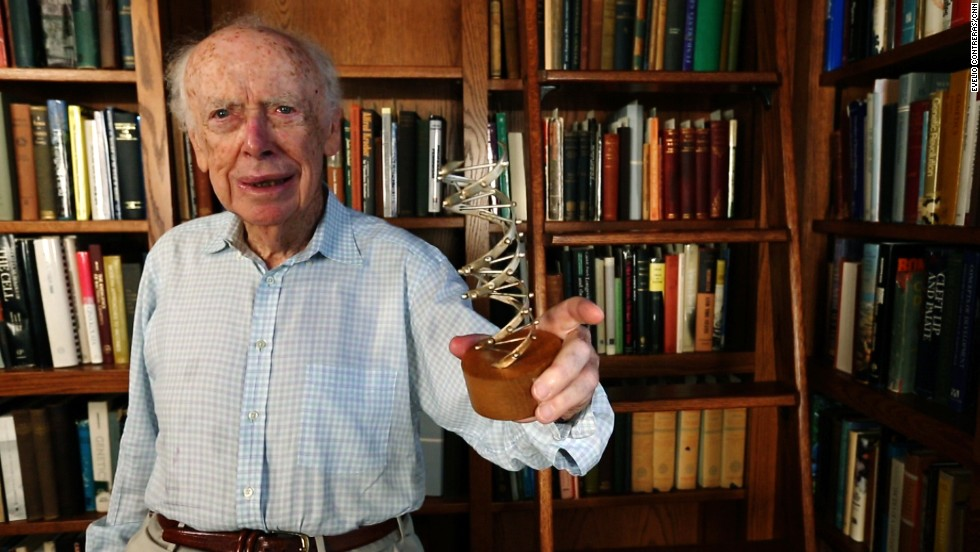 "James Watson, who won a Nobel Prize for co-discovering the structure of DNA, holds a model of the molecule. ""It hasn't made the world perfect, but it's a very powerful tool for trying to make it more perfect,"" Watson says. Click through to learn more about the history of genetics."