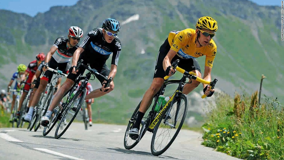 2012 Tour de France winner Bradley Wiggins leads this year's favorite Chris Froome on the way to his eventual triumph in Paris