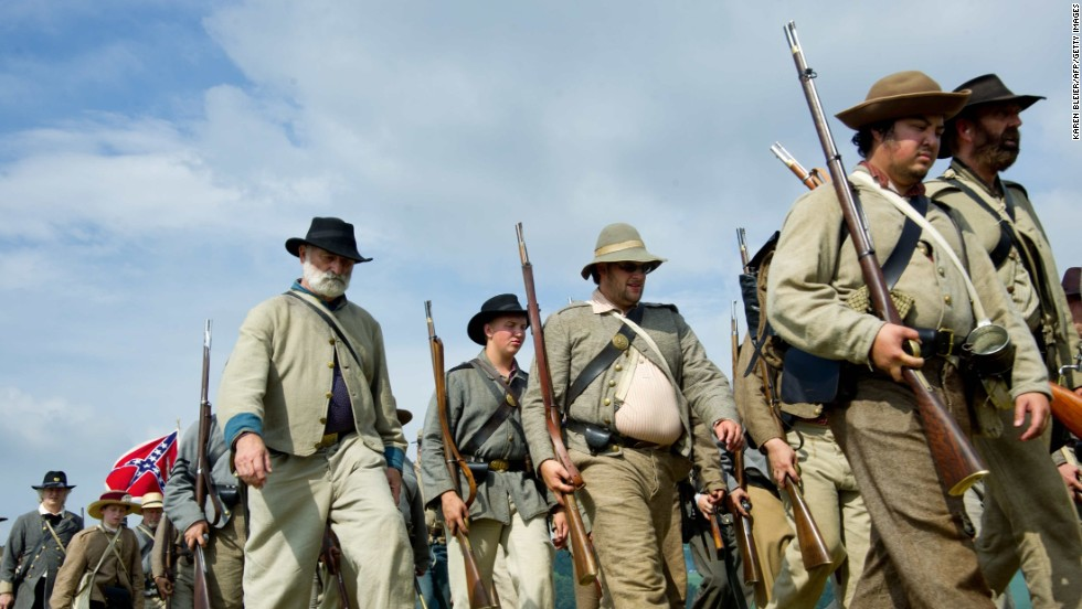 Confederate troops march into battle.