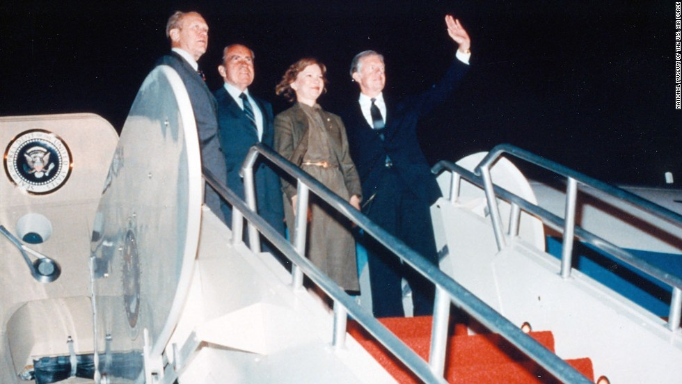 "In 1981, Nixon and fellow ex-presidents Gerald Ford, left, and Jimmy Carter, right, flew SAM 26000 to the funeral of Egyptian President Anwar Sadat. (Also attending: former first lady Rosalynn Carter.) They felt ""somewhat ill at ease"" together, wrote Carter years later. Then Nixon ""surprisingly eased the tension,"" Carter recalled. The men bonded. The trip resulted in a long friendship between bitter election rivals Carter and Ford."