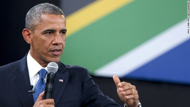President Obama held a town hall meeting in Johannesburg on Saturday.
