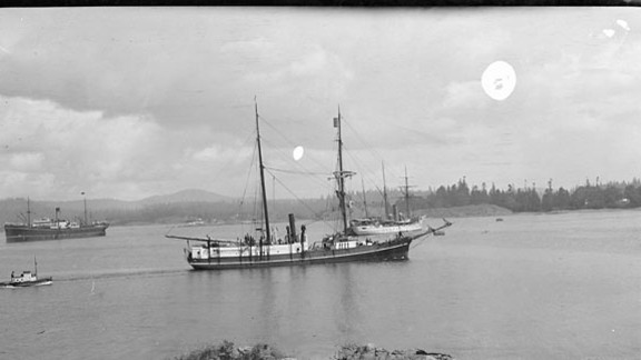The Karluk was an aging 129-foot whaling ship bought by the Canadian government, seen here Esquimalt Harbor. When the expedition weighed anchor in Nome, Alaska, McConnell wrote to his sweetheart how thrilling it was to embark on the trip.