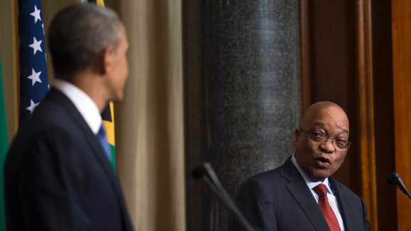 Obama and Zuma speak during a press conference at the Union Buildings in Pretoria, South Africa, on June 29.