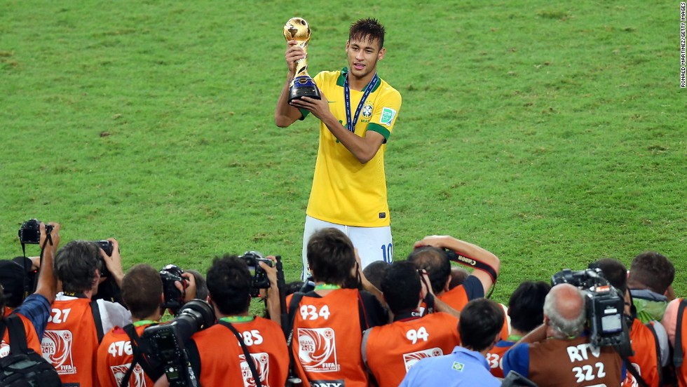 Neymar of Brazil celebrates scoring his team's second goal in its 3-0 victory over Spain in the final of the Confederations Cup.