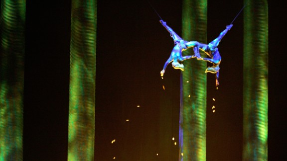 """In a November 2008 performance, Sarah Guillot-Guyard , left, and Sami Tiaumassi play """"Forest People"""" during Cirque du Soleil's """"Ka"""" at MGM Grand Resort in Las Vegas. Guillot-Guyard, 31, who was part of the original show cast, fell during the show finale on Saturday, June 29, and was pronounced dead shortly after."""