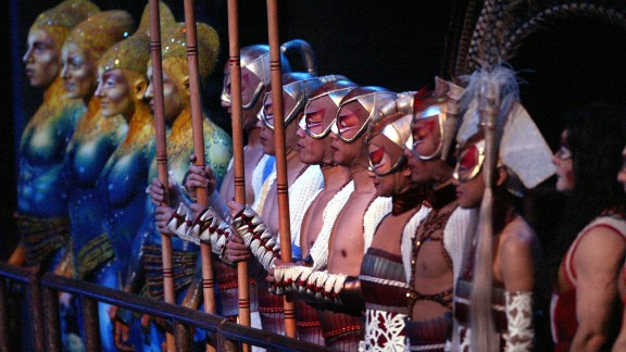 Cast members in various costumes are seen during the closing moments of the show in February 2005.