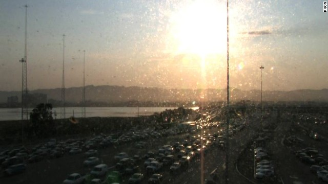 Traffic backs up on the Bay Bridge Monday morning as a transit strike begins in the Bay Area.