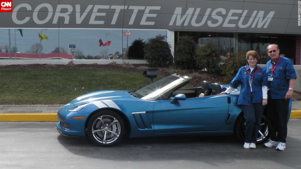 "<a href=""http://ireport.cnn.com/docs/DOC-996560"">Wayne Ray </a>and his wife stand in front of their 2010 Corvette Grand Sport. ""When we ordered the car, we also requested a 'Buyers Tour' from the museum. That when the museum escorts you through the Corvette plant on the day your car is built so you can walk it down the line and actually see the building process,"" he explained."