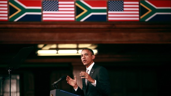 Obama delivers a speech at the University of Cape Town in Cape Town, South Africa, on June 30.