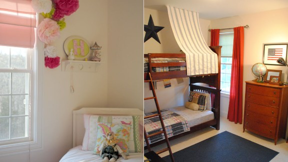 Holly Modica from Connecticut decorated her children's bedrooms on a budget, using decorative items from around the house as well as tissue paper, coffee filters, popsicle sticks and tree branches.