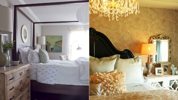 The Milk and Honey Home team from Roswell, Georgia, showed off two of their clients' bedrooms. On the left, the clean, crisp wines and warm woods evoke a European experience. On the right, a mix of rustic and glamorous elements created the perfect retreat for a newlywed couple.