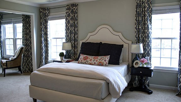 Kelly Marzka of Atlanta built and upholstered this chic bed with her husband. It cost less than $300, she said, and she created a tutorial for the entire project on her blog, View Along the Way.