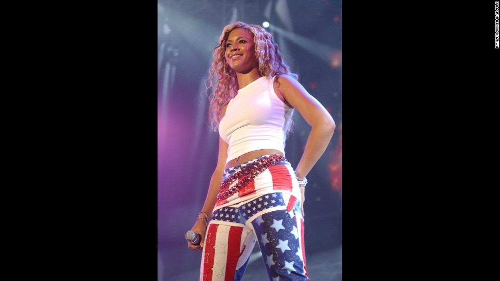 Beyoncé wears her pride on her pants when Destiny's Child performs at the 2001 United We Stand concert.