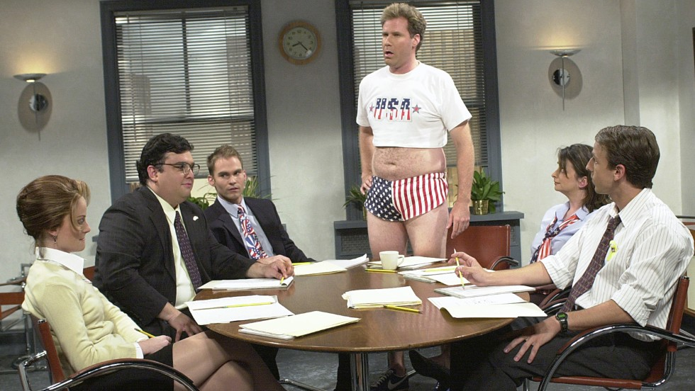 "Will Ferrell's short shorts and crop top during ""Saturday Night Live's'"" 2001 ""Show Your Patriotism"" skit just scream ""USA! USA!"""