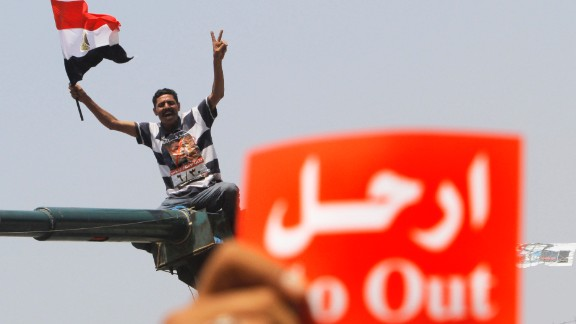 A protester shouts during a demonstration in Tahrir Square on July 3.