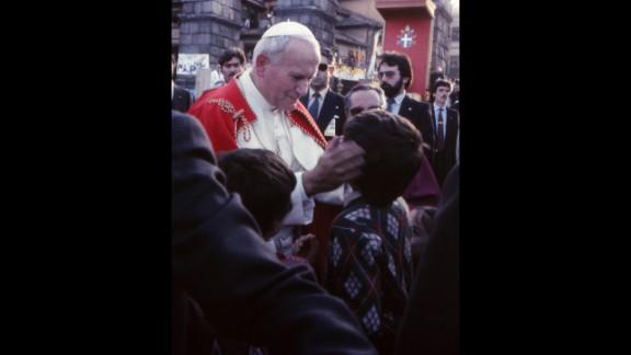 Pope John Paul II in Segovia, Spain, in November 1982.