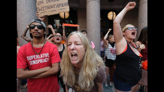 Opponents of an abortion bill yell outside the Capitol in July 2013.