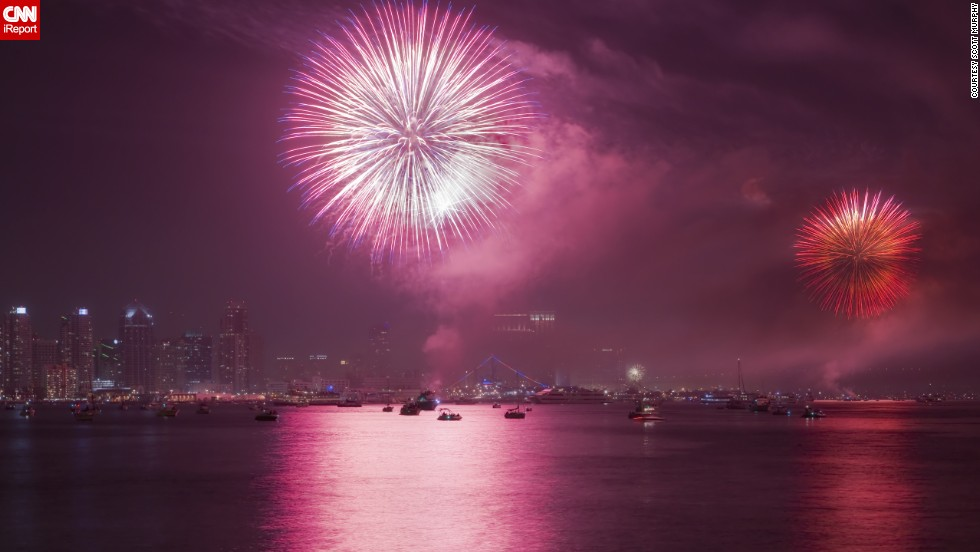 "Scott Murphy took this photo of fireworks over <a href=""http://ireport.cnn.com/docs/DOC-997299"">San Diego's downtown skyline</a> in 2011. He likes to shoot them every year. In 2012, he wasn't able to photograph the show, but then ""it was the infamous firework show bust, where a technical fault caused the fireworks to explode at the same time,"" he recalls. ""Secretly, I was happy because it wouldn't have mattered if I was there or not."""
